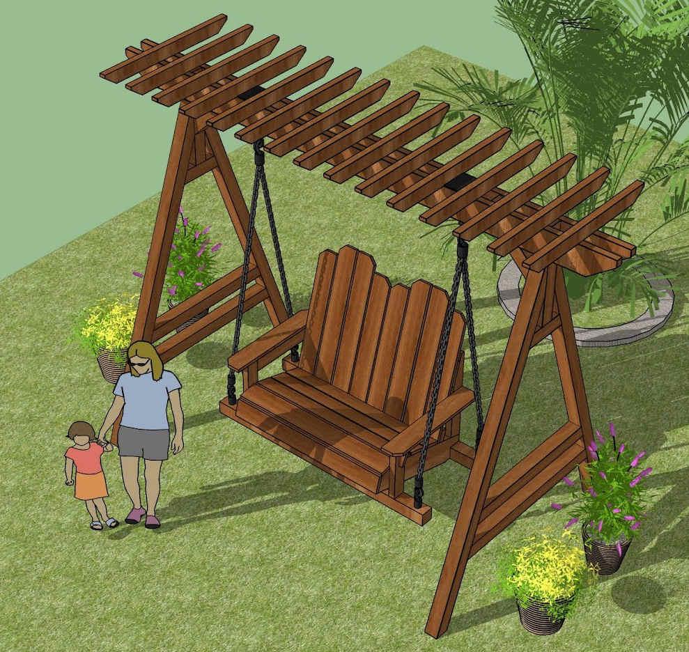 houten schommel voor in de tuin bouwen bouwtekening. Black Bedroom Furniture Sets. Home Design Ideas