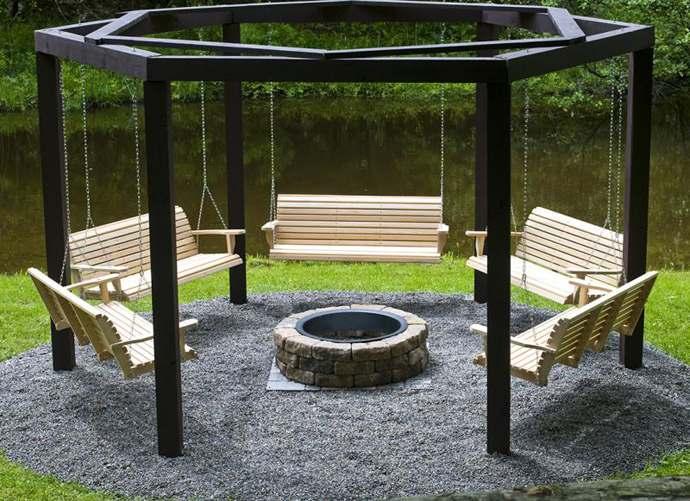 schommels rond vuurkuil gratis bouwtekeningen. Black Bedroom Furniture Sets. Home Design Ideas