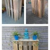 Hoge tafels om van een pallet te maken, drie voorbeelden.