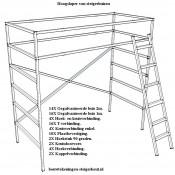 Bouwtekening voor een verhoogd bed van steigerbuis met een trap naar de hoogslaper.