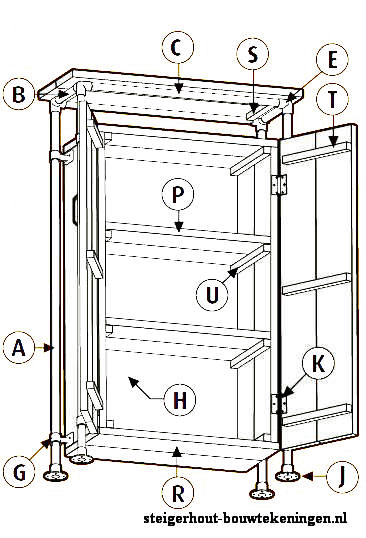 Bouwtekening om een kast te maken met steigerbuizen en steigerhout.