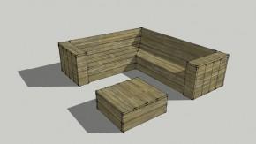 Hoekbank en lounge tafel van steigerplanken met een vierkante loungetafel.