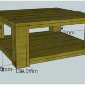 Bouwtekening voor een salontafel van steigerhout.