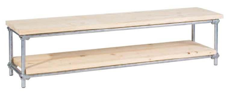 TVmeubel van steigerbuizen en steigerhout, een steigerbuis televisiemeubel om zelf te maken.
