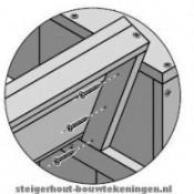 Bouwtekening detail voor de rugleuning van een steigerhouten loungebank.