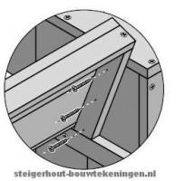 Loungeset bouwtekening detail voor de rugleuning van een steigerhouten loungebank.