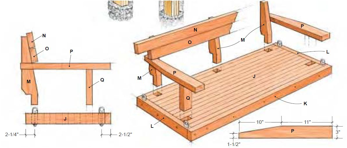 Bouwtekening voor steigerhout schommelbank met afdak.