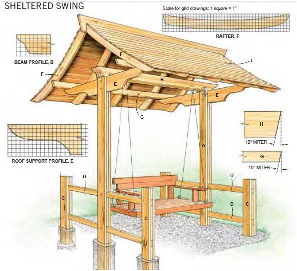 Houten tuin schommel bank bouwen met gratis bouwtekening.