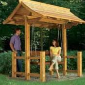 Resultaat van de bouwtekening voot een steigerhouten schommel met dakje.