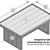 Maak zelf een steigerhout tafel met deze bouwtekening.