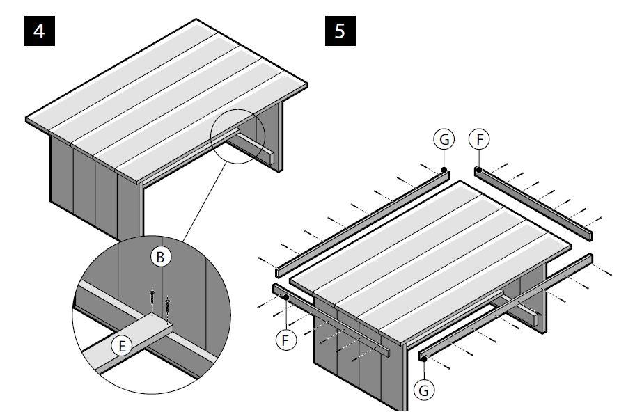 Stap 4 en 5 van de bouwtekening om een steigerhout tafel for Zelf een tuintafel maken