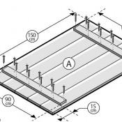 Maak zelf een tafelblad van steigerhout, onzichtbare bevestiging van de planken onder het tafelblad.