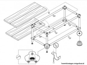 Doe het zelf bouwtekening voor een steigerbuis televisietafel met planken van steigerhout.