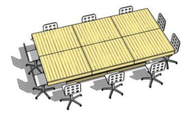 Maak deze vergadertafel van een paar oude pallets.