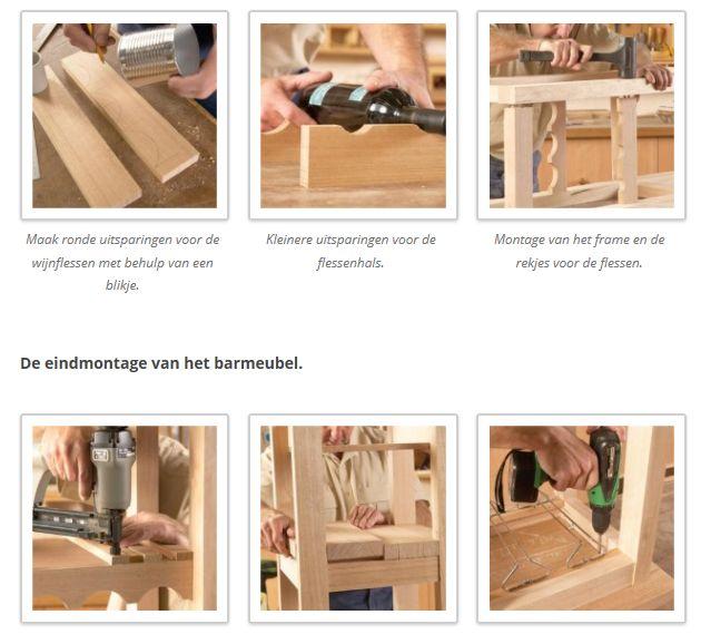 Doe het zelf handleiding om barkrukken en een barmeubel te maken van hout.