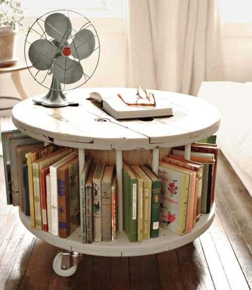 Ronde kabeltrommels van hout zijn heel leuk om er tuinmeubelen van te maken - Maken van zijn boekenkast ...