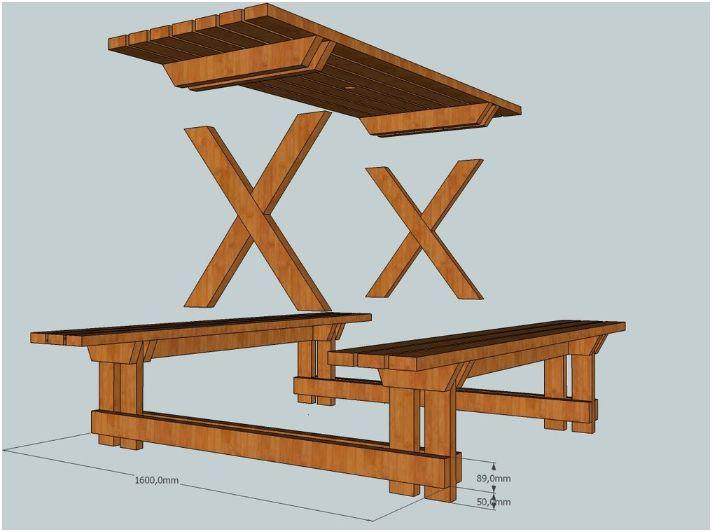 Gratis picknicktafel bouwtekening for Zelf tafel maken