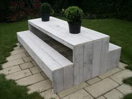 Steigerhouten tafels en stoelen voor in de tuin for Tafelblad steigerhout maken